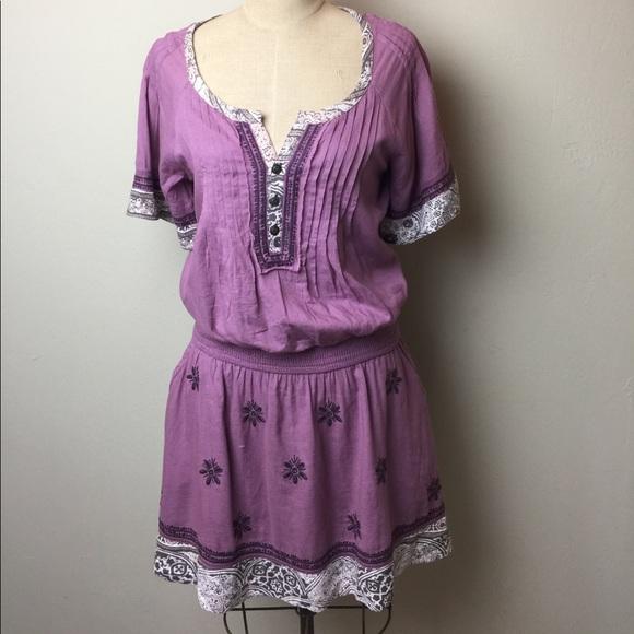 Free People elastic waist multi fabric dress