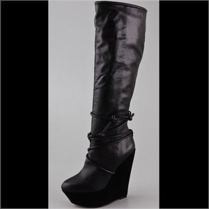 LAMB leather wedge boot!