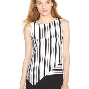 White House Black Market Striped Asymmetrical Top