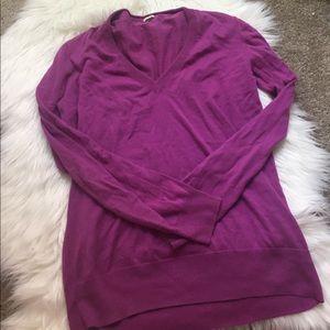 purple vneck j crew sweater size M