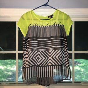 Cute lime green, black and white top