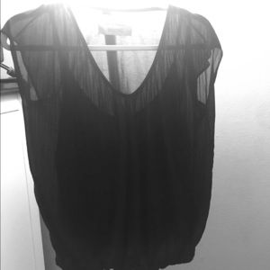 Sheer top with black underlay