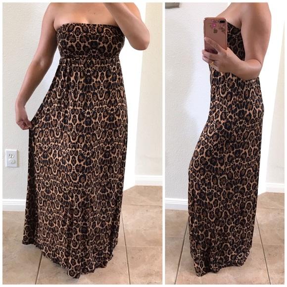 b075a8959ff6 H&M Dresses   Hm Animal Print Strapless Maxi Dress   Poshmark