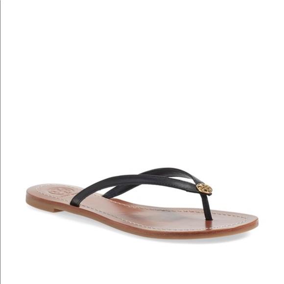 4e9a8b171ce4 Tory burch Terra black leather flip flop thong 9.5.  M 595e5cd13c6f9fcdc80082ea