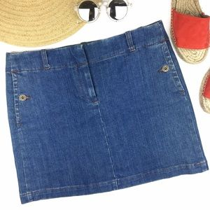 J. Crew Denim Button Pockets Mini Skirt