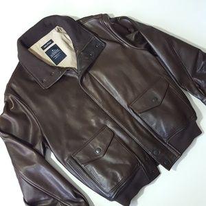 NAUTICA brown genuine leather bomber jacket