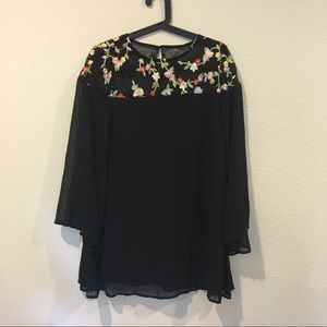 Black floral embroidered long sleeve dress