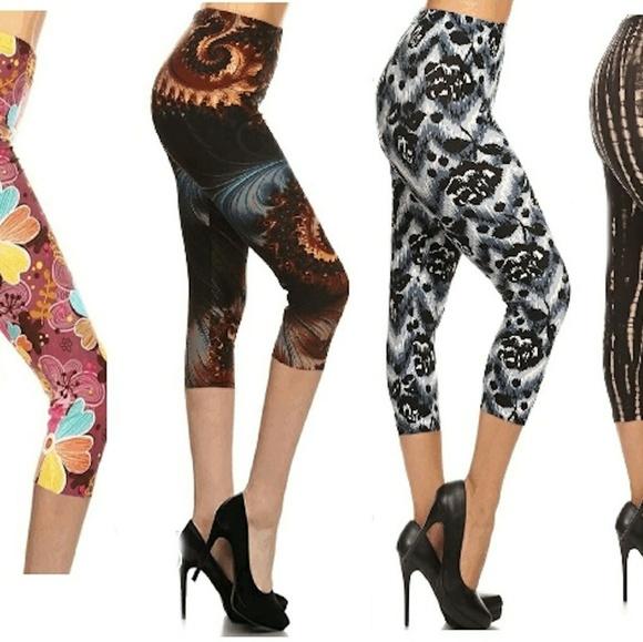 be3c2878f7189 New Plus Soft Capri Pants Leggings Black  Brown