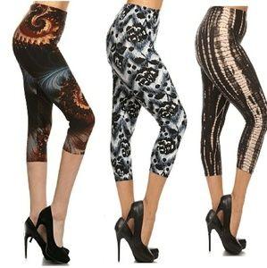 69a0a403c3 New Plus Soft Capri Pants Leggings Tie Dye Blk Wht