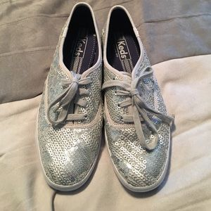 Brand New Keds Champion Silver Sequin Shoes