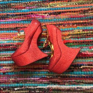👠NIGHTWALK RED SPARKLE PLATFORM HEELS👠