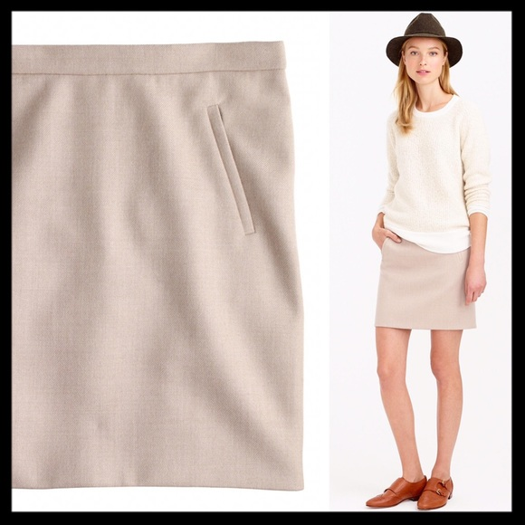371ecfe8eb6eec J. Crew Skirts | J Crew Zip Pocket Wool Beige Tan Mini Skirt | Poshmark