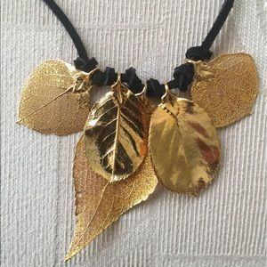 Jewelry - 24 K Gold dipped leaves necklace