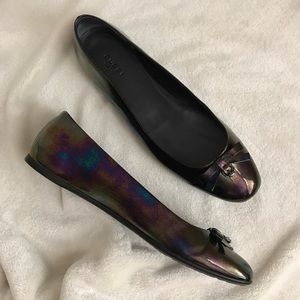 Gucci Oil Slick Patent Bow Ballet Flats
