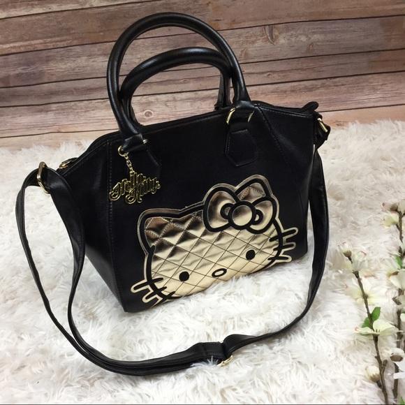 8c4fe6ed00 Hello Kitty Handbags - Loungefly black golden Hello Kitty Sanrio purse