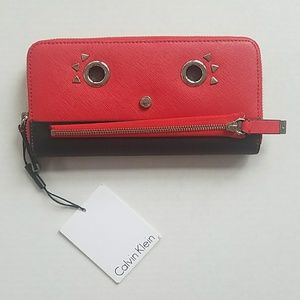 Calvin Klein red and black Waller face check book