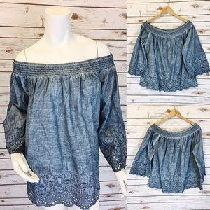 Tops - Chambray off the shoulder top