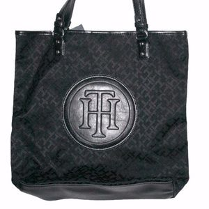 Tommy Hilfiger leather trim canvas tote New black