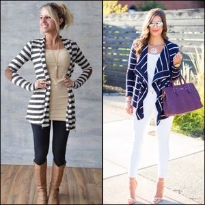 Striped Open Front Sweater