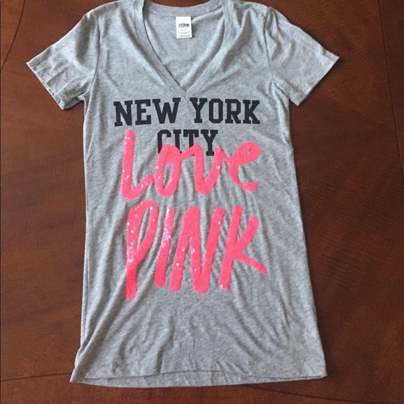 1d5fdc41a79 PINK Victoria's Secret Tops | Victorias Secret Pink Nyc Vneck Tshirt ...