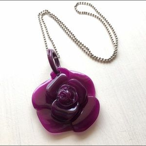 Jewelry - Big Rose Statement Necklace Purple Silver Chain