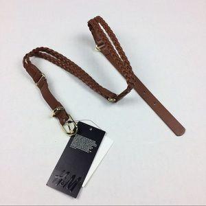 H&M brown braid belt