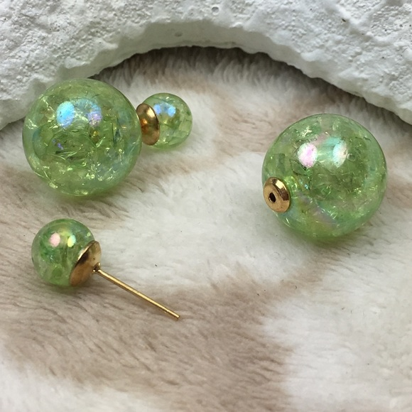 Iridescent Lime Green Raindrop Beaded Curtain: Lime Green Iridescent Double Stud