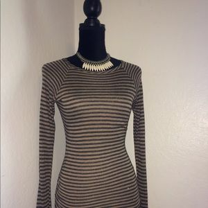 TART COLLECTIONS Black/Tan Striped Stretchy Dress
