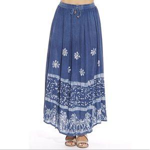 Dresses & Skirts - M-3X Batik Floral Embroidered Denim Wash
