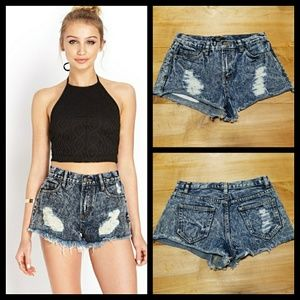 Forever 21 Distressed High Waist Shorts Size 27