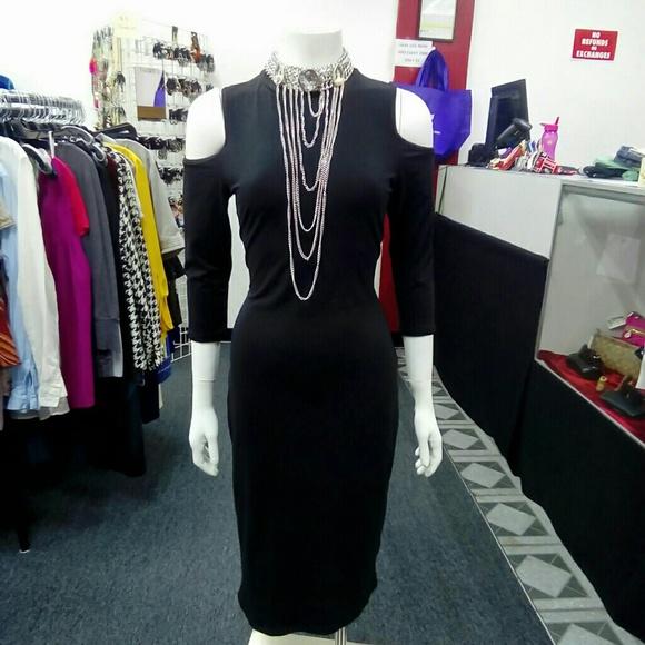 Deja Vous Dresses & Skirts - NWT Black Cold Shoulder Dress Sz. M