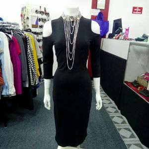 Deja Vous Dresses - NWT Black Cold Shoulder Dress Sz. M