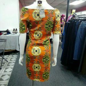 Deja Vous Dresses - NWT Orange Floral Off-Shoulder Dress