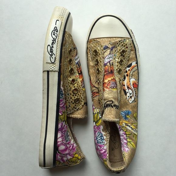 25 ed hardy shoes ed hardy s slip on satin