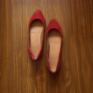 Madewell 1937 Red Pointy Toe Suede Flats