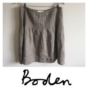 Boden Linen Embroidered Skirt