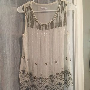 Sheer sleeveless beaded top