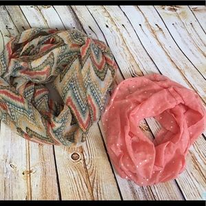Accessories - Lot Set of 2 Lightweight Cotton Infinity Scarf