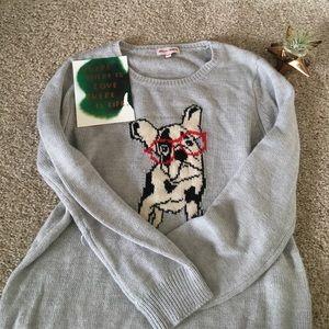 French Bulldog Glasses Sweater, M