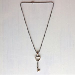 Jewelry - Silver Heart Key Pendant Necklace Stainless Steel