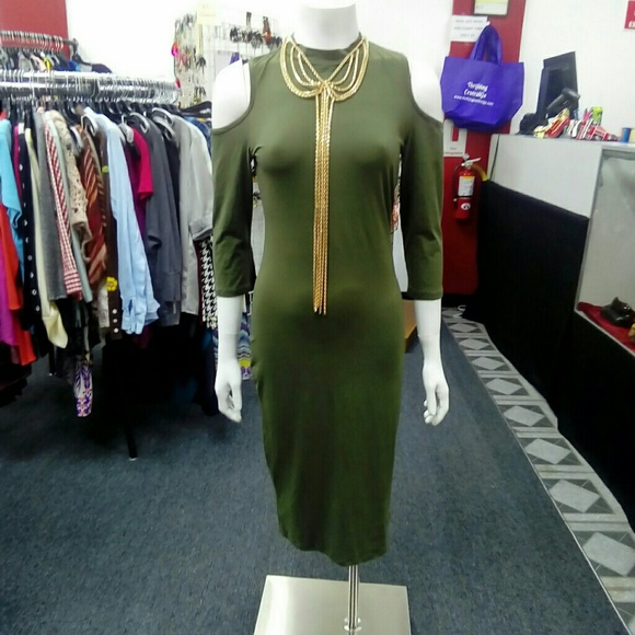 Deja Vous Dresses & Skirts - NWT Olive Green Cold Shoulder Dress