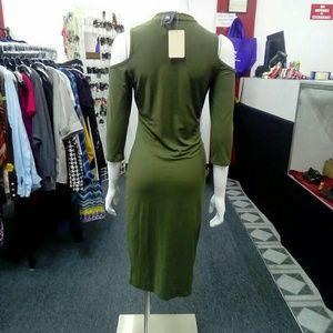 Deja Vous Dresses - NWT Olive Green Cold Shoulder Dress