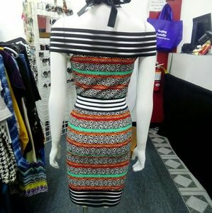 Deja Vous Dresses - NWT Print Strapless Dress