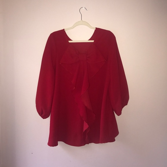 9628269c3d828c IC by Connie K Tops - Red blouse with bow from IC by Connie K size