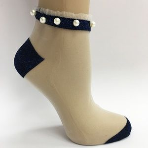 Accessories - Sheer Ankle High Socks With Pearls