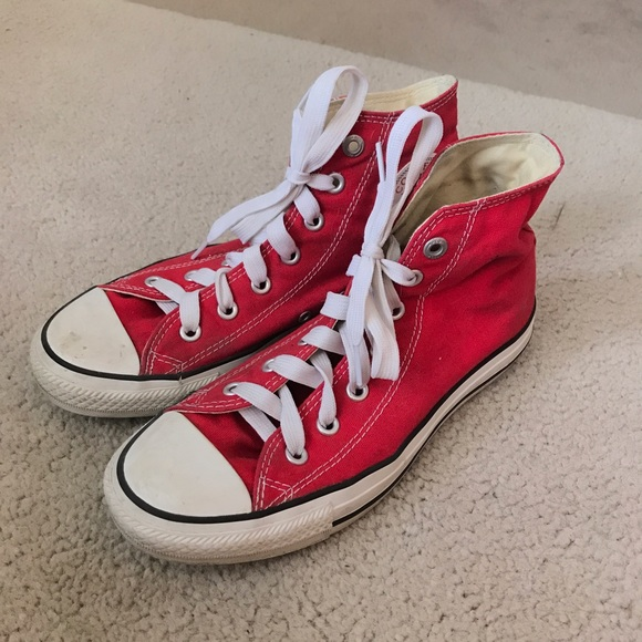 3a98811cbe2 Converse Shoes - Red Converse Chuck Taylor High Top Sneakers