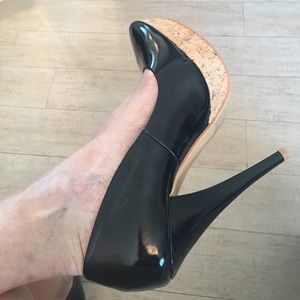 Shoes - Black vegan patent leather and cork wedge pumps