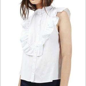 Topshop poplin ruffle shirt