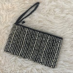Black & White beaded purse clutch pouch