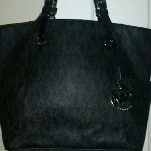 Michael Kors Black Monogram Pvc Leather Tote